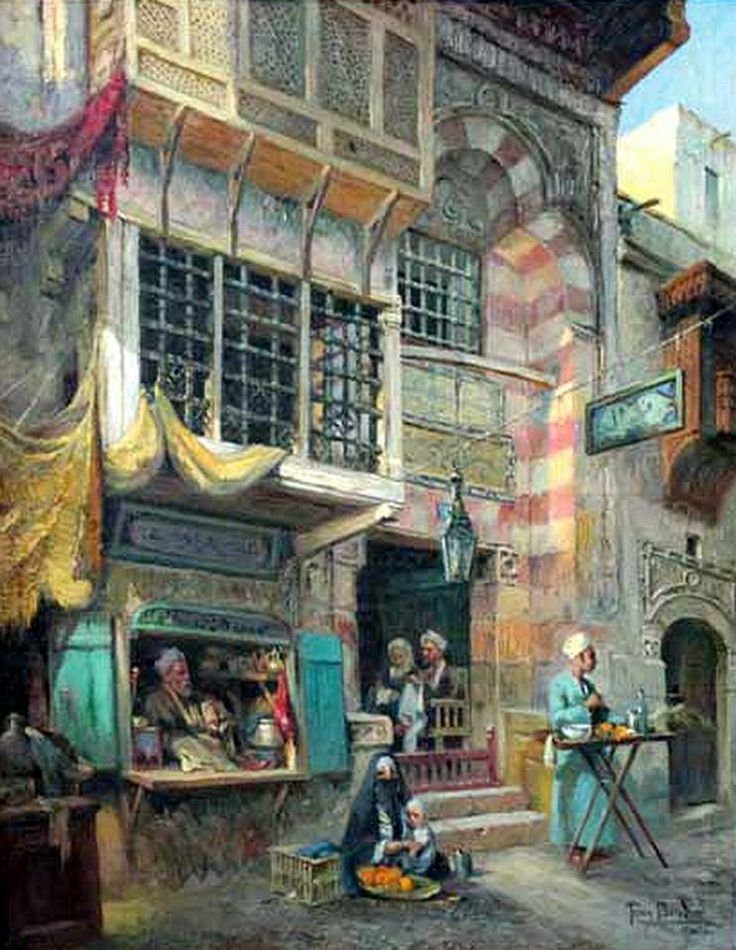 Old street in Cairo  by Tony Binder- Austrian, 1868-1944  Oil on canvas 120 x 93 cm