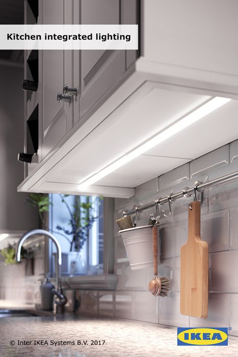 Create a better look when you're cooking with IKEA integrated lighting. Perched above cabinets, as well as hidden inside and under them, our integrated kitchen lighting adds atmosphere, functionality and style to your kitchen. (LED options add energy savings, too.) They're a brilliant way to complete the look of your kitchen and get a better look at what you're making for dinner. Click to shop now!