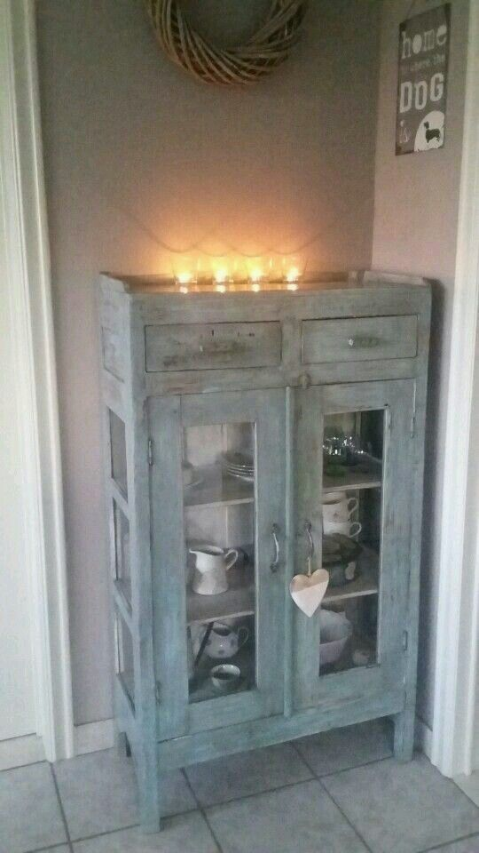 blue shabby cabinet