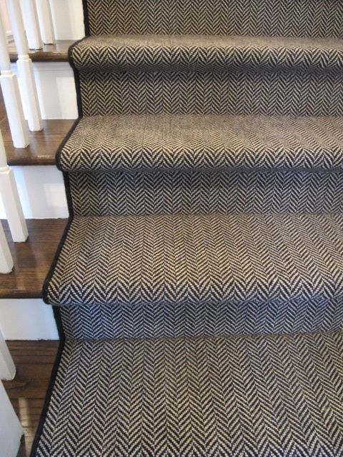 Herringbone + Carpet Runner by kay....hardwood on main level then this carpet runner and switch to carpet in upstairs bedrooms EXACTLY!