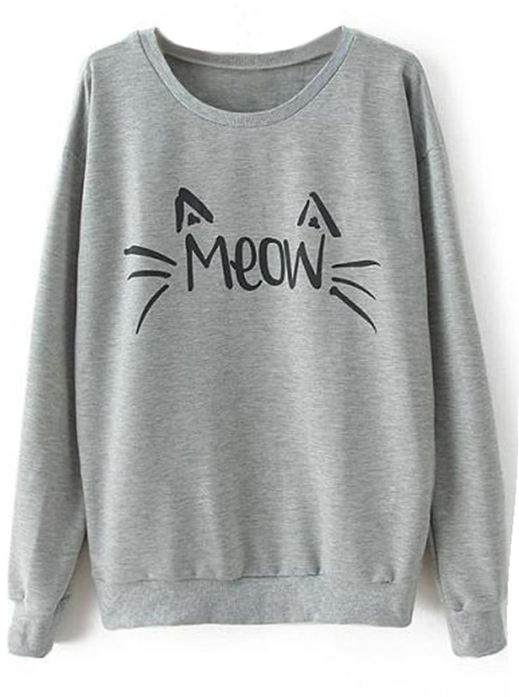 """Meow"" sweatshirt to get with free shipping&easy return! You gonna have this cat lover's piece! So cute&chic at Cupshe.com"