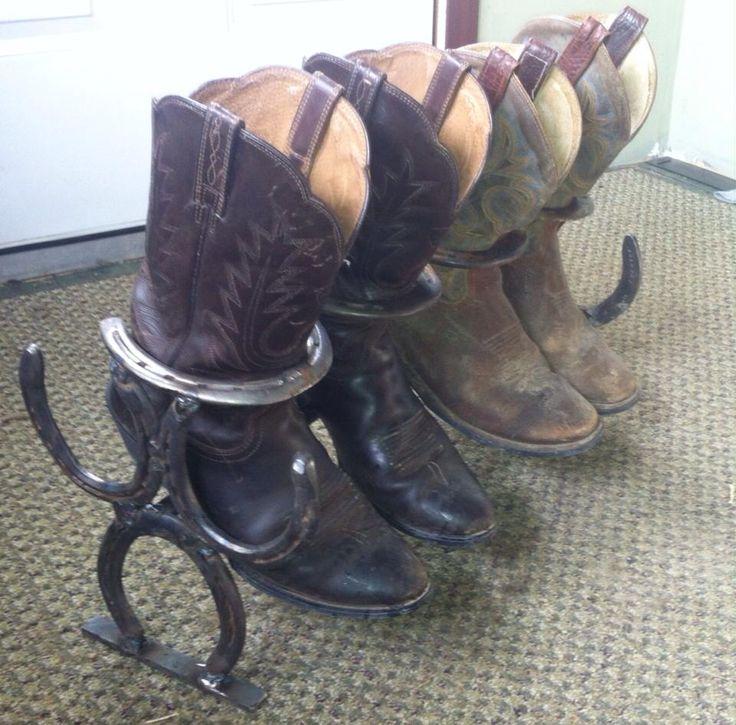 Snazzy horseshoe boot rack.