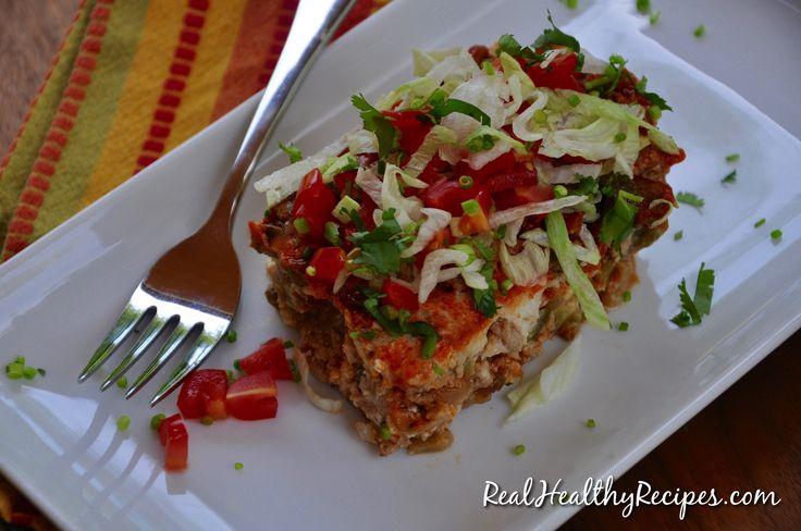 Enchilada Casserole  Serving size 1/12= 23P, 8F, 8C