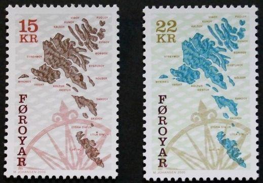 Maps stamps, 2000, Faroe Islands, SG ref: 304 & 309, 2 stamp set, MNH