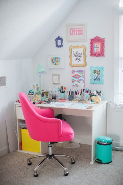 Hot pink desk chair | Anna Varndeoe