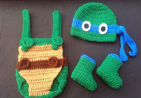 Baby Boy Ninja Turtle Outfit/Set w/ Hat, Overalls, and Booties in sizes Preemie, newborn 0-3 months OR 3-6 months TMNT in ALL Colors on Etsy, $30.00