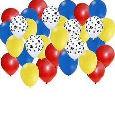 "30 Latex Round Balloons 12"". 8 Red Latex. 8 Blue Latex. 8 Yellow Latex 6 Paw Print Latex. Helium quality. Ships un-inflated."