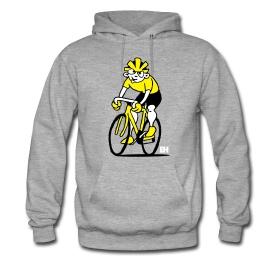 Cyclist in a yellow yersey on a hoodie #Spreadshirt #Cardvibes #Tekenaartje
