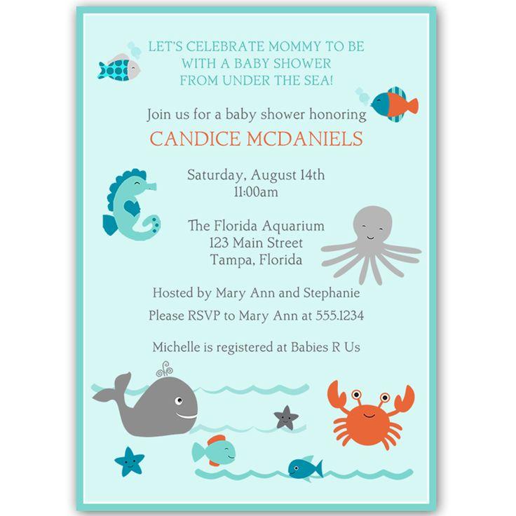 Fish Themed Baby Shower Invitations: Sea Buddies Baby Shower Invitation