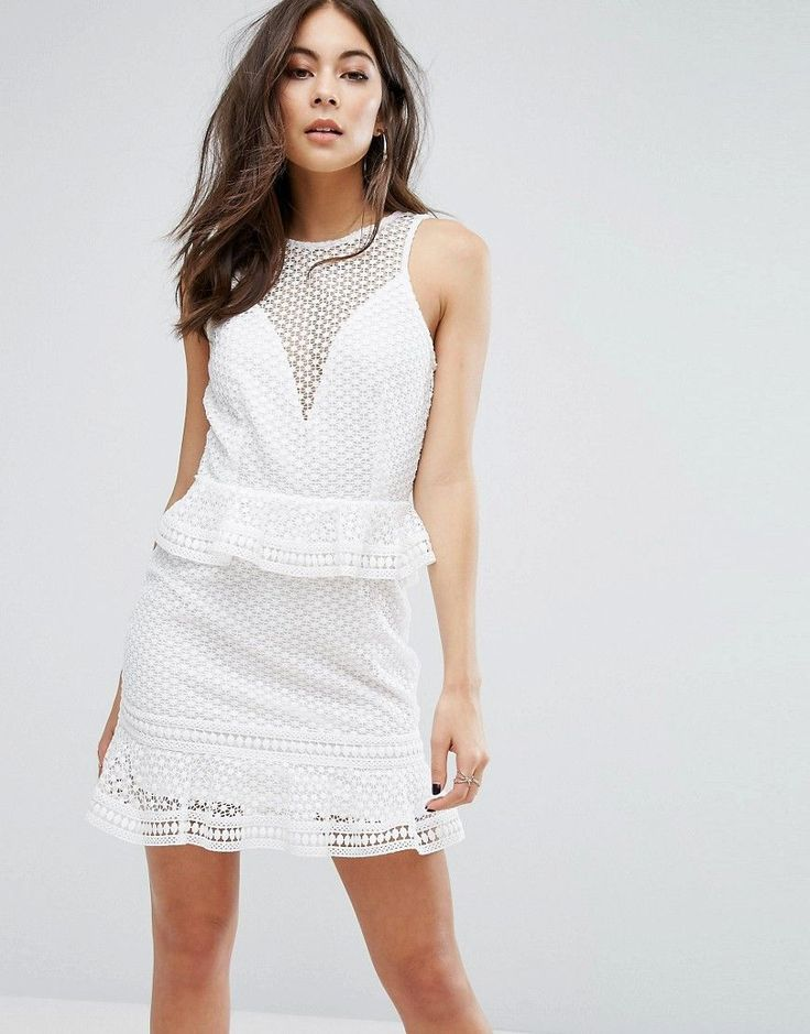 PrettyLittleThing Tiered Lace Dress - White