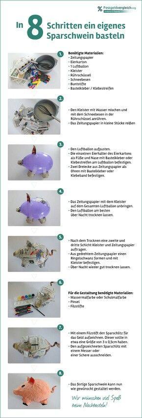 Sparschwein selber basteln mit einfacher Anleitung