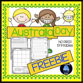 Australia Day FREEBIE - three no prep worksheets - 'Perfect Pavlova' writing prompt, an acrostic poem outline and a grid to enlarge a map of Australia. Happy Australia Day!