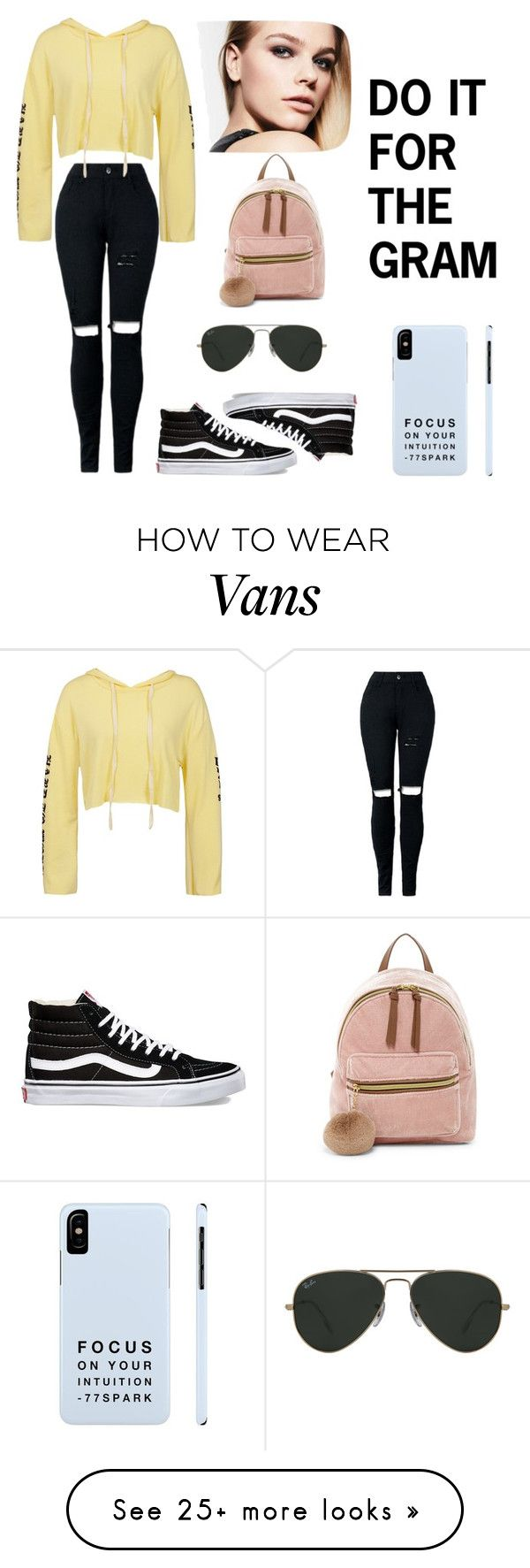 """""""do it for the gram kinda fit"""" by nadyazzahra on Polyvore featuring Sans Souci, Vans, Ray-Ban and T-shirt & Jeans"""