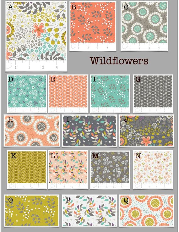 Custom Modern Baby Crib Bedding -Design Your Own- Wildflowers- Gray, Coral, Teal