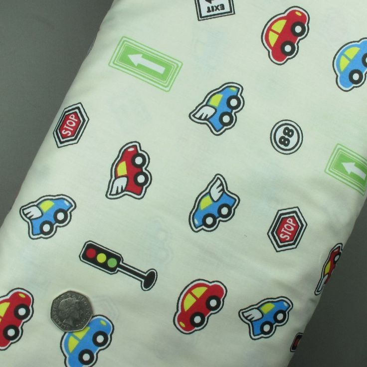 100% Cotton Fabric Small Toy Cars Children's Print - Sold per metre