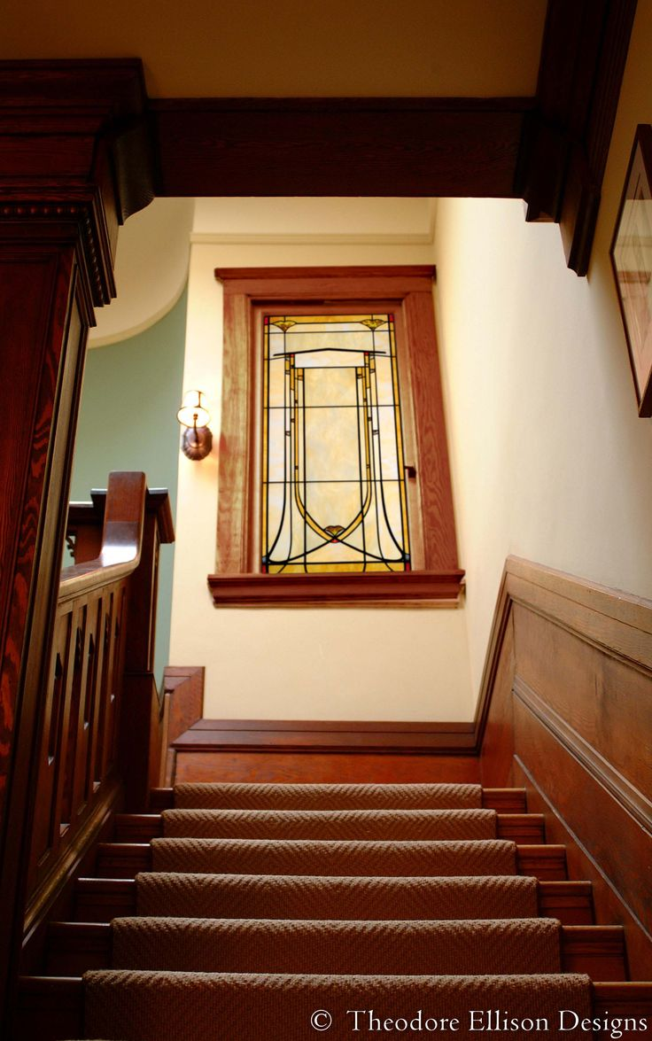 Art Nouveau leaded glass window for stairwell by Theodore Ellison Designs