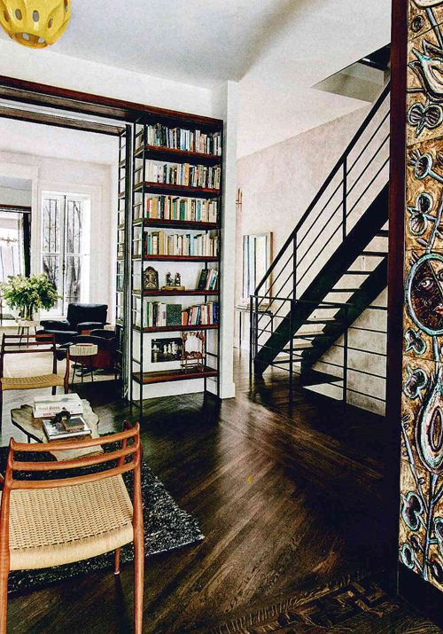 Custom blackened steel and wood stair designed by EOA / Elmslie Osler Architect for Ippolita Rostagno townhouse, as seen in Architectural Digest editorial