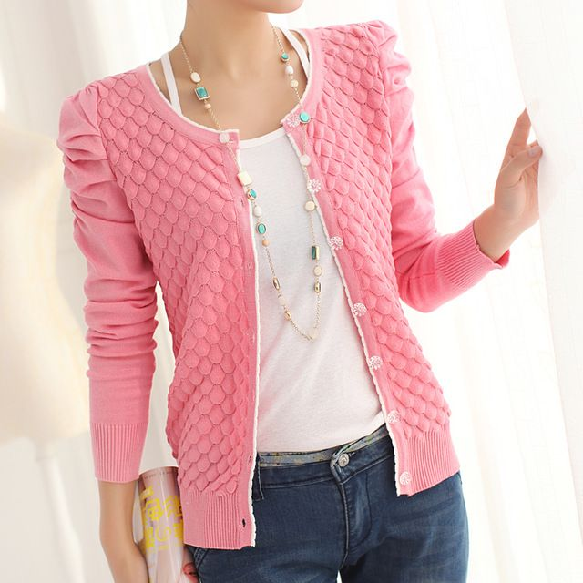 Spring Women'S Cardigan O-Neck Puff Sleeve Pearl Buckle All-Match Solid Color Knitted Sweater Outerwear Jacket Cardigans