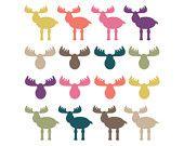 60% di sconto vendita Clipart Clip Art Moose dirige nei boschi Clipart animali Clip digitale Art Digital Antlers