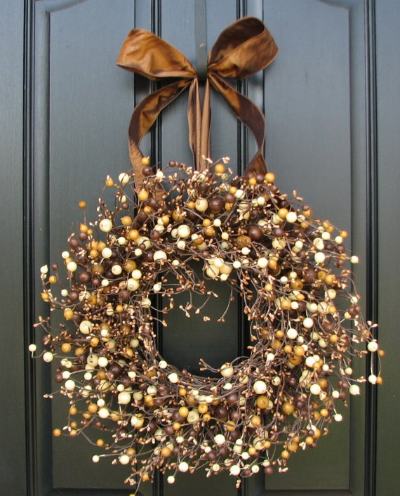 High Quality Fall Berry Wreath Roasted Marshmallow Smores Fall Wreath For Front Door Pictures