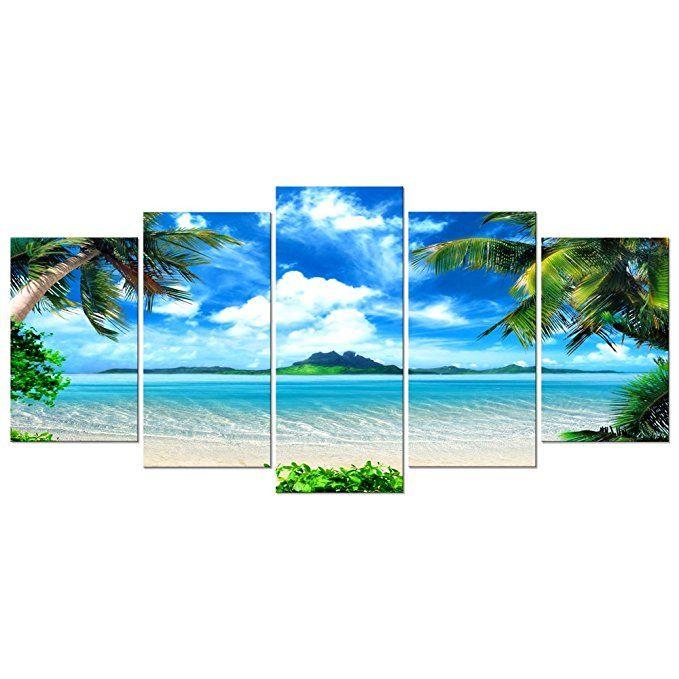 Amazon Com Pyradecor Modern 5 Panels Blue Sea Beach Pictures