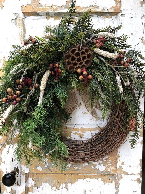 Rustic Winter Wreath Primitive Christmas Wreath Etsy Winter
