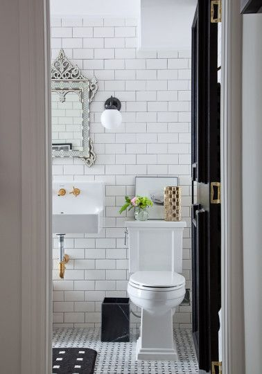 Christine dovey bathroom 1 moroccan mirror ikea sconces marble waste basket floating sink brass - Ikea bathroom tiles ...