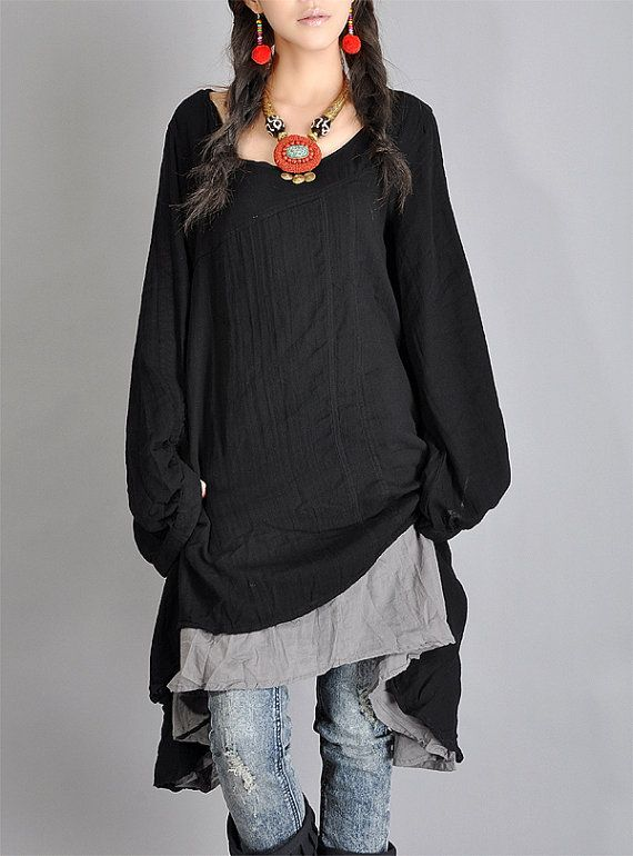 Black Gray Tops cotton upper wear women dress