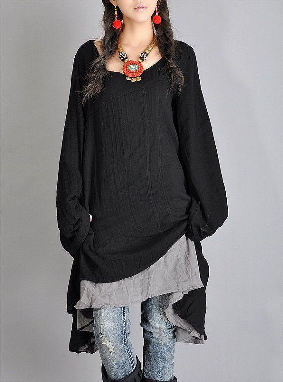Black Gray Tops cotton upper wear women dress by fashiondress6, $78.00