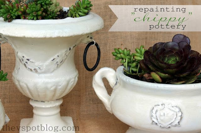 Using Vaseline and spray paint for a shabby chic flower pot make-over.