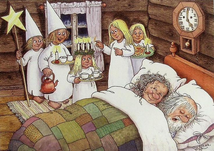 St. Lucia Day (December 13) by Swedish artist and botanist, Rolf Jonas Lidberg (1930-2005)