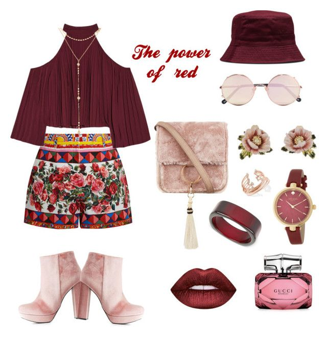 """""""The power of red"""" by hielyaamelia on Polyvore featuring Dolce&Gabbana, W118 by Walter Baker, Charlotte Russe, Fragments, Sunday Somewhere, Dr. Martens, Brother Vellies, Les Néréides, INC International Concepts and Kate Spade"""
