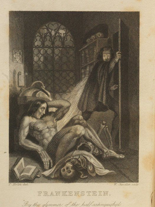 Frontispiece from the famous third edition of Frankenstein, 1831 (78689)