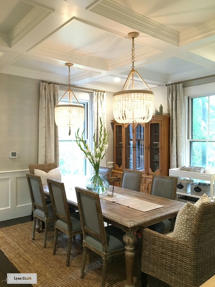 Dining Room Custom Drapes By Lynn Chalk In Thibaut Anna French Olympus Embroidery Natural Glimmer