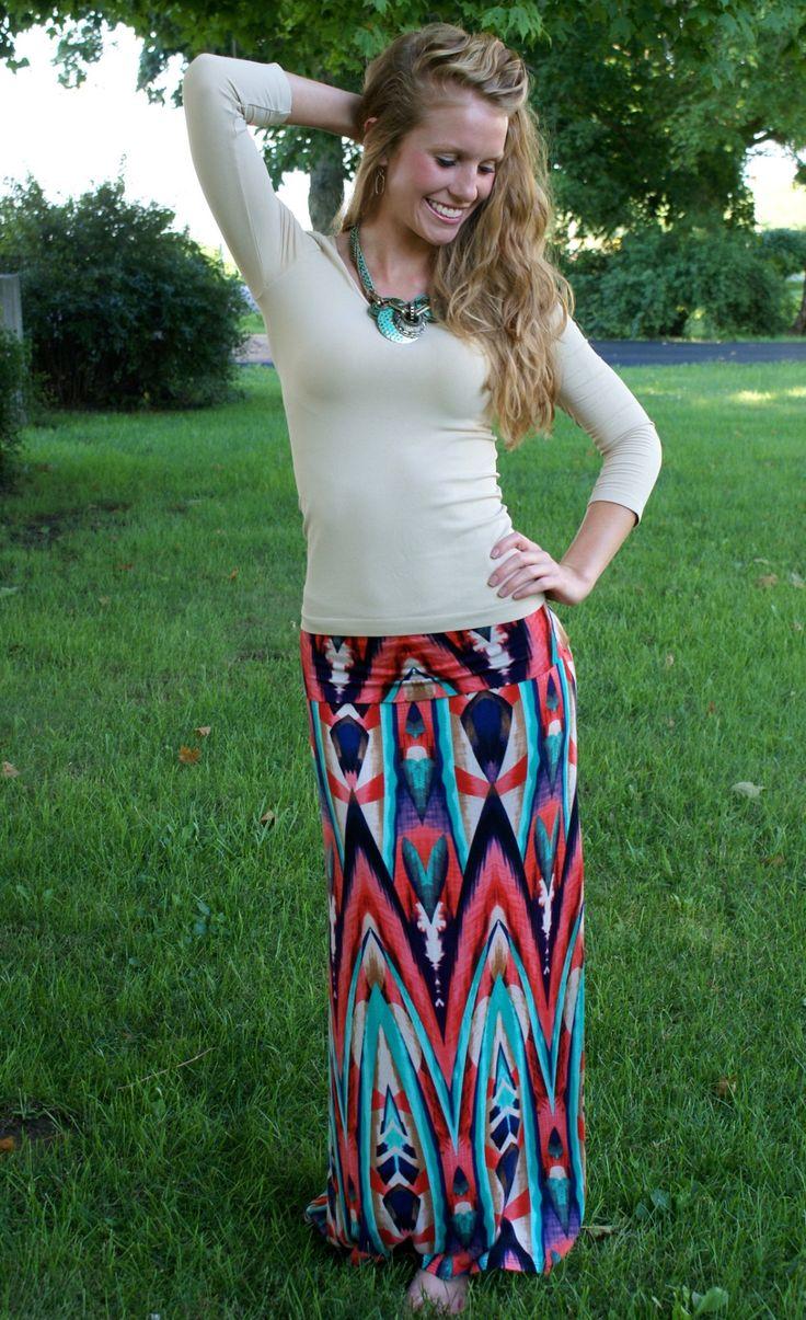 Thunder Island Maxi Skirt: Multi