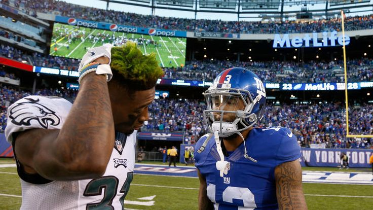 Eagles vs. Giants:  28-23, Giants  -  November 6, 2016  -    Odell Beckham Jr. #13 of the New York Giants talks with Jalen Mills #31 of the Philadelphia Eagles after their game at MetLife Stadium on November 6, 2016 in East Rutherford, New Jersey. The New York Giants defeated the Philadelphia Eagles with a score of 28 to 23.