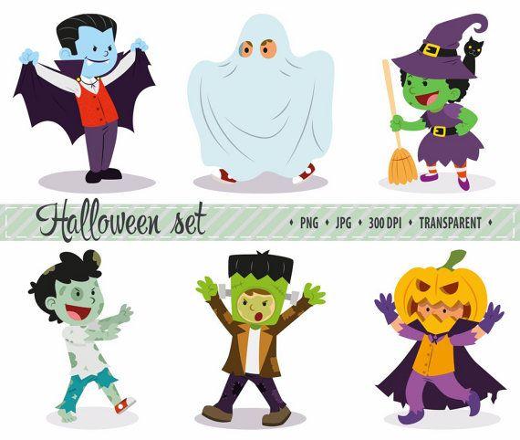 50% OFF SALE Halloween Clip art kostuum clipart Halloween kids clipart Cute Halloween clipart Hand getrokken Halloween Cartoon clip art pompoen