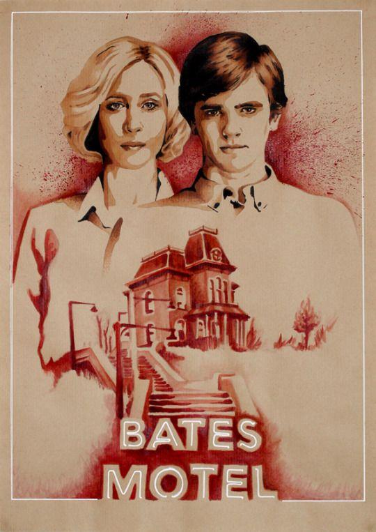 Vera Farmiga - Freddie Highmore Bates Motel on A&E - Psycho Papier kraft. 42x29,7cm Marqueurs + Aquarelle. Colorex + Posca #psychose #hitchcock #norma #norman