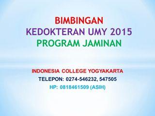 bimbingan cbt dan pbt kedokteran umy yogyakarta program jaminan start 01 feb, 10 mei, 10 juni, 01 agustus 2015
