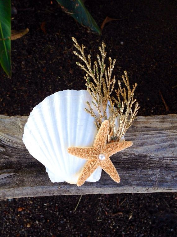 Large seashell and starfish Barrette Ariel by LovelornSiren, $20.00