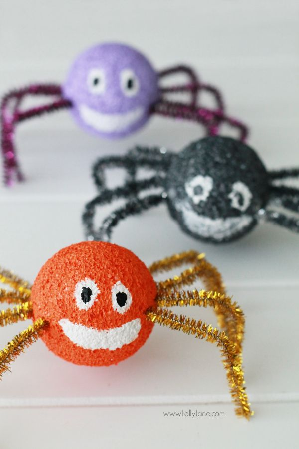 adorable and easy styrofoam spidersfun halloween craft for the kids - Halloween Spider Craft Ideas