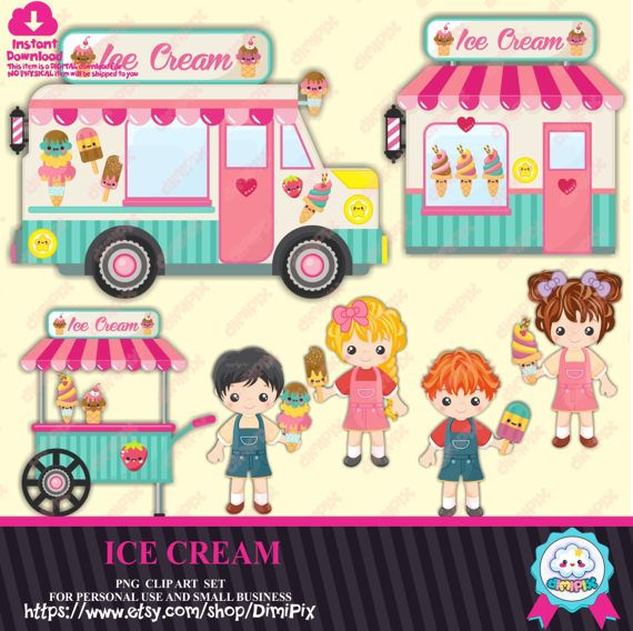 Ice cream graphics Ice Cream Clipart Kawaii food by DimiPix