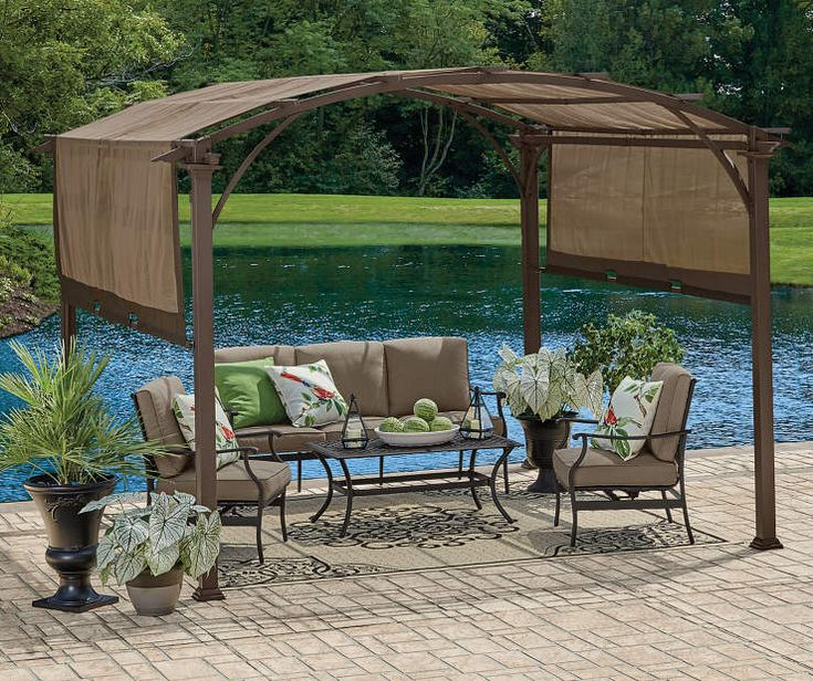 Wilson Fisher Verano Pergola 10 X 10 Big Lots In 2020 Rustic Pergola Gazebo Big Lots Pergola