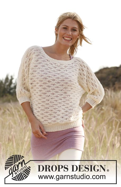 """Knitted DROPS jumper with lace pattern in """"Bomull-Lin"""". Size S-XXXL ~ DROPS Design"""