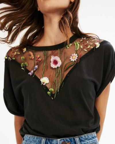 Mesh splicing sheer t shirt with embroidery leaves and flower pattern hem hole tee for girls