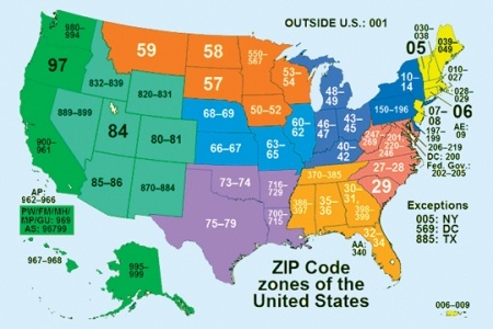 United States Zip Code Map There Are About 43 000 Zip Codes Nationwide The United States Postal Service Began Implementing The Zip Code On Jul