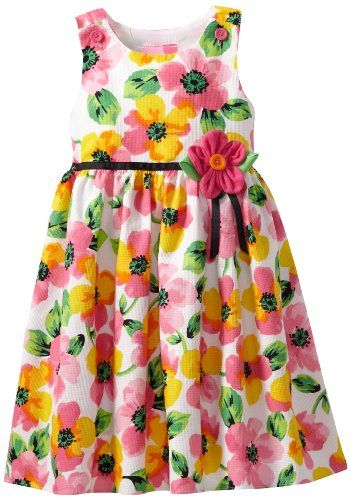 Good Lad Little Girls' Printed Dress, White, 5