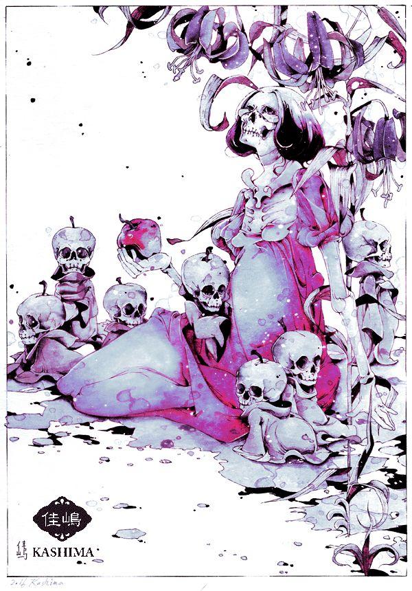 「白雪姫」佳嶋 2016年作。白雪姫の輪廻と呪縛。 小人は七回死んだ自分。 小人は七回生まれ変わった自分。 小人は七回堕胎した自分の子。 小人は自分を救ってくれなかった、七度殺した王子。