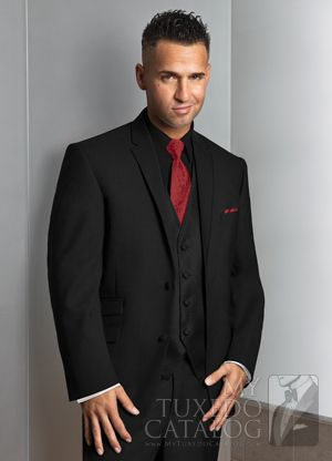 The Situation Black 'Asbury' Tuxedo Coat, with Black Synergy Vest and Apple Red Vine Tie
