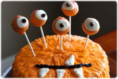 gateau avec des pop cake en guise d 39 yeux cake design halloween pinterest halloween d co. Black Bedroom Furniture Sets. Home Design Ideas